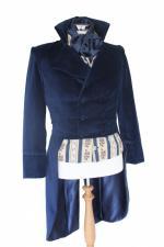 For Sale Men's Deluxe Navy Cotton Velvet Mr.Darcy Regency Bridgerton Victorian Tailcoat Size Small Ready To Go!